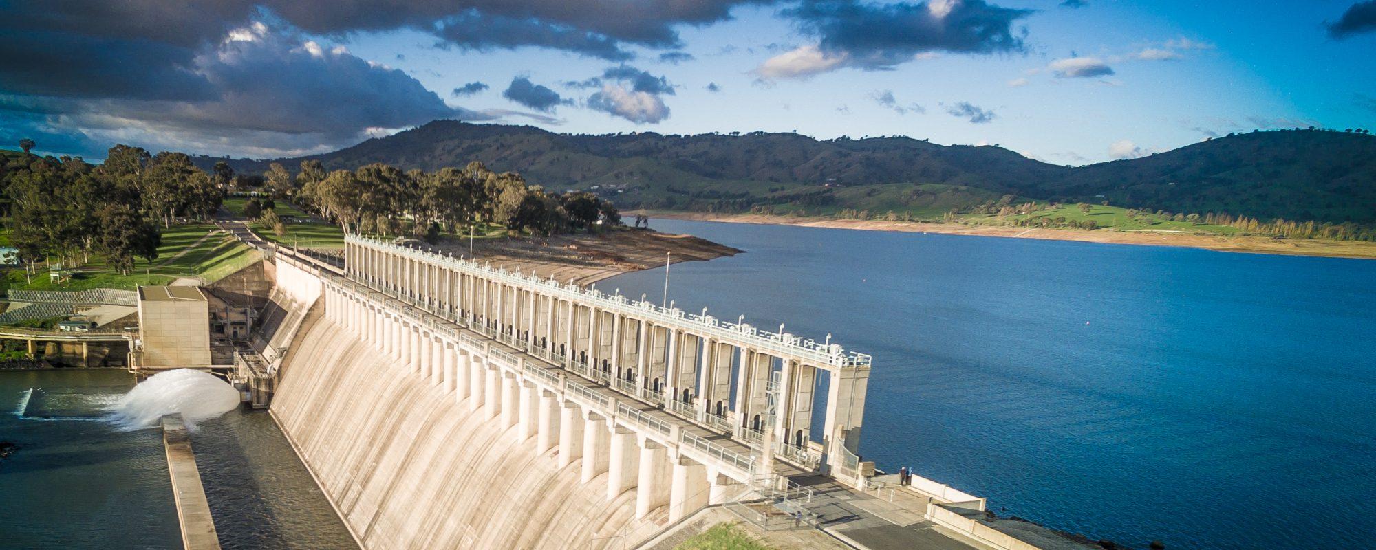 The Hume Dam on Lake Hume