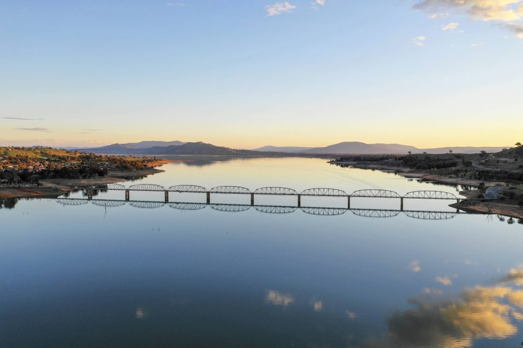 Aerial view of Lake Hume and Bethanga Bridge
