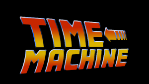 Black background with Orange txt saying Time Machine