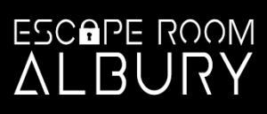 Escape Room Albury white text on black background